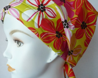 Funky Retro Floral Womens Cancer Hat Chemo Scarf Cap Head Wrap Alopecia Turban Hair Loss Headcovering Bad Hair Day
