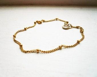 Tiny Gold Chain Bracelet - Dainty Gold Filled Bracelet, Simple Everyday Jewelry