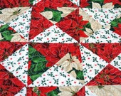 Quilted Table Runner Christmas Pointsettia Patchwork Pieced Extra Long