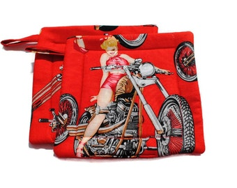 Handmade Quilted Pot holders Set of 2 Red Biker Girls Pinups Alexander Henry Last Set