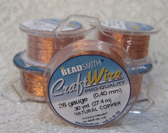 26 gauge Natural Copper Non Tarnish Beadsmith Copper Craft Wire 30 yards