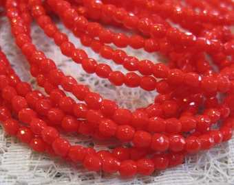 Red Opaque Czech Glass Firepolished Crystal Beads 3mm