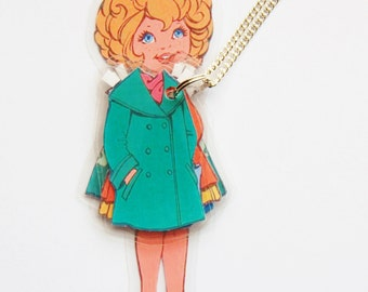 Daisy Paper Doll Laminated Necklace