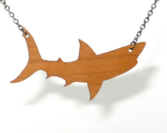 Shark Necklace Reversible Wood and Steel Pendant