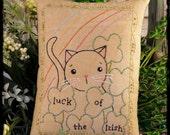 Luck of the Irish cat embroidery Pattern -  PDF st. patricks day shamrock primitive stitchery