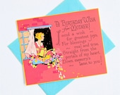 card 1920s happy birthday mother screen printed blank back stylized graphic colorful vintage birthday card pink yellow blue