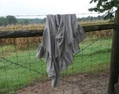 Ruffled Linen Throw READY to SHIP Blanket Natural Linen Bedspread Afghan Coverlet French Country Prairie Farmhouse Bedding Rustic Afghan