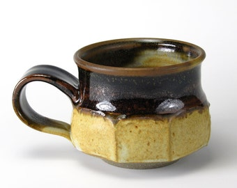 Cream and Brown Faceted Mug