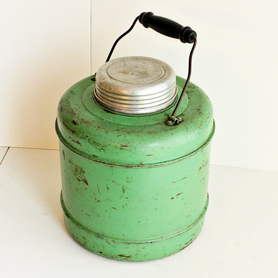 Vintage Water Cooler Water Jug Metal Green Ceramic