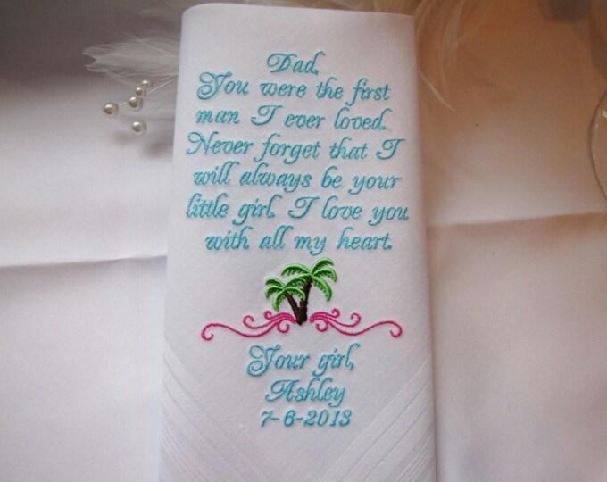 Destination Wedding Beach Theme Custom Personalized Father of the Bride Handkerchief