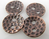 Copper Buttons, 1/2 Inch, 13mm, Textured, Patina, Polished QTY 4