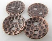 Kupfer-Buttons, 1/2 Zoll, 13mm, glatt, Patina, poliert QTY 4