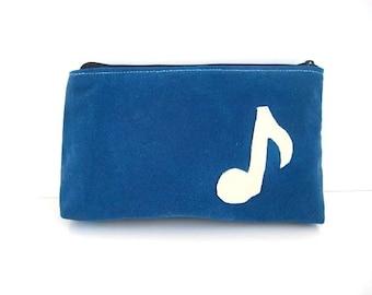 Waxed Canvas Pouch Leather Applique Blue