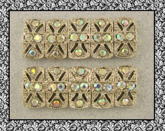 2 Hole Slider Beads QTY 10 Marcasite Tablets Made with Clear Aurora Borealis Swarovski Crystal Elements
