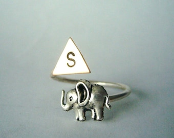 Silver elephant personalized initial geometric ring, adjustable ring, animal ring, silver ring, statement ring