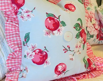 Vintage Apple Blossom Pique Fabric Pillow Cover - Shabby and Cottage Chic