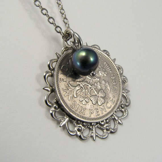 British lucky six pence coin necklace with iridescent pearl, 1966