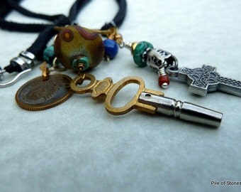 Svetochka Necklace, Mixed Metal, Gemstones, Leather & Charms, Artisan Lampwork, Vintage Key, USSR Coin, Cross, Etnic Organic Colorful