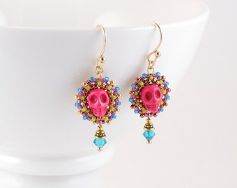 Beadwoven Calavera Earrings/ Pink Skulls/ Gold-filled Earwires/ Spring Green/ Mauve/ Frosted Teal/ Blue Zircon/ Small/ Bright - - - Florina