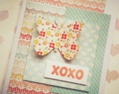 Handmade Gift Card, Butterfly XOXO, Birthday, Congratulations, Any Occasion ON SALE