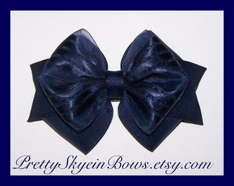 A Medium Layered Boutique Hair Bow Clip in Navy