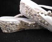 So Sweet Bride Desirae OOAK Fantasy Embellished Wedge Wedding Flip Flops
