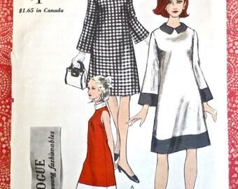 Vintage 1960s Womens A-Line Dress Pattern - Vogue 6881