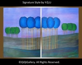 "Original large Oil Painting Abstract landscape Trees Wall Decor "" Blue Lanterns"" by qiqigallery"