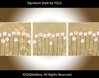 """36"""" art Abstract  Painting Original Impasto landscape oil painting Flower Paintng """"Pink Delight"""" By qiqigallery"""