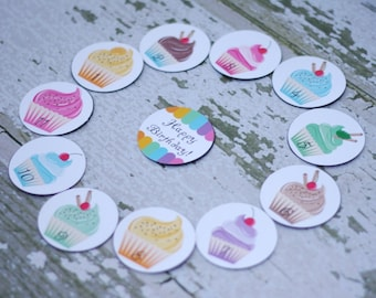Magnetic Countdown Birthday or other fun occaision with cupcakes - Magnets Only
