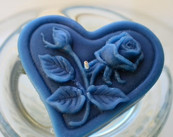 Floating heart candles with roses & leaves for wedding reception centerpiece. Navy Blue set of 12