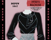 Vintage Sewing Pattern 1930's Blouse in Any Size Depew 1047 Draft at Home Pattern - PLUS Size Included -INSTANT DOWNLOAD-