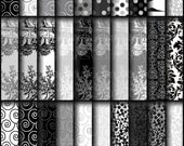 INSTANT DOWNLOAD Ostentatious set 1 includes 30 Digital Scrapbooking Papers black white grey dots toile swirls damask