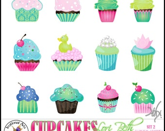 Lori Beth CUPCAKES set 2 with 12 Digital Graphics Clip Art png files pink aqua blue cupcake - Instant Download