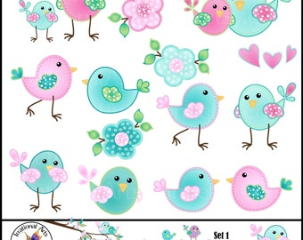 Sophie Birdies set 1 - Digital ClipArt Graphics with 19 cute birds and flowers - pink turquoise aqua hearts [INSTANT DOWNLOAD]