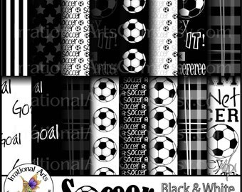 INSTANT DOWNLOAD Soccer set 5 Black & White digital paper 20 jpg files soccer players balls madras plaid and 2 Soccer Title png
