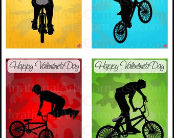 Valentines Day Cards BMX Riders - kids classroom exchange DIY Printing valentine Boy silhouettes bicycle Jpg & Pdf{Instant Download}