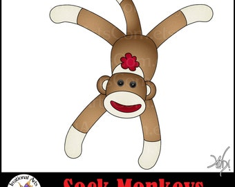 INSTANT DOWNLOAD Sock Monkey set 1 with png graphics
