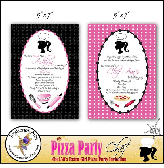 Retro Girl Chef  Pizza Party Invitation - digital file birthday party invites 50s pink green red pizza mixing bowl cutter