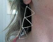 Silver Falling Triangles Earrings