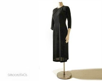 Vintage 40s Black Rayon Cross Bust Film Noir Vixen Dress M