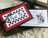 Alice in Wonderland Invitation - Wedding, Birthday - Boxed with moss, ribbon and key