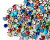 24pc 6mm rhinestone gem charms in antique brass two-loop connector settings, set stones for your jewelry designs