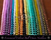 Metal Ball Chain Necklaces ~ 50 Piece Colored Ball Chain ~ Assorted 2.4mm goth cut ball chain ~ Wholesale Economical ~ 24 Inch Length ~ DiY