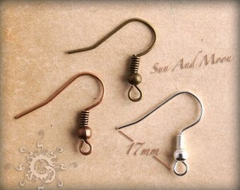 50 Pack - Fish Hook Earwires - 17mm Fish Hook With Spring And Ball Earwires