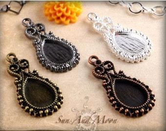 20 Pieces Small Vintage Earring or Pendant Setting Vintage Design Settings Cute Earrings For Small Pendant Bezel Teardrop Filigree Tray