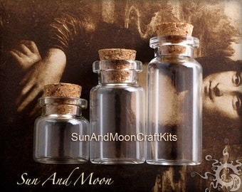 5 Medium Glass Jars With Cork Vials~With 10 Loop Screws~ 40mm Tall x 22mm For Small Beads Findings and Craft Projects DIY For Keepsakes