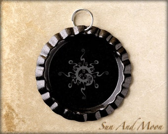 10 ~ Shiny Black Flattened Bottle Caps with Split Ring Attached ~ DIY ~ Great With Our 1 Inch Circle Resin Drops And Our Black Ball Chains
