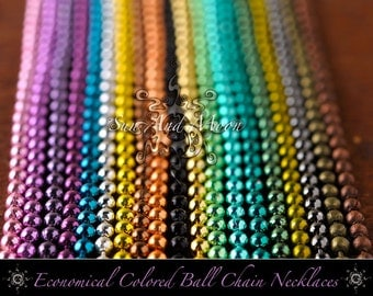 100 Economical Shiny Colored Ball Chain Necklaces ~ Wholesale ~ 2.4 Ball ~ 24 Inch Length ~ DiY ~ Pink, Gunmetal, Black, Orange etc...
