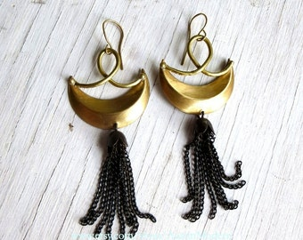 Witches Moon Dangle Earrings Golden Crescent and Black Chain Fringe C&S